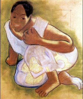 Paul Gauguin : Crouching Tahitian Girl