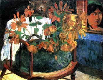 Paul Gauguin : Still Life with Sunflowers on an armchair