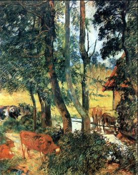 Paul Gauguin : Cattle drinking