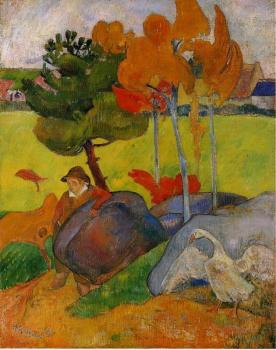 Paul Gauguin : Breton Boy in a Landscape