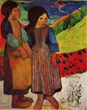 Paul Gauguin : Breton Girls by the Sea