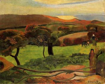 Paul Gauguin : Breton Landscape,  Fields by the Sea