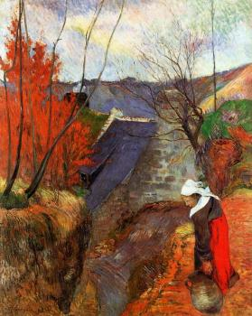Paul Gauguin : Breton Woman with Pitcher
