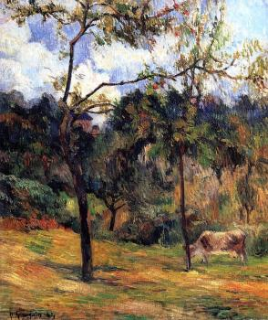 Paul Gauguin : Cow in a Meadow, Rouen