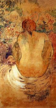 Paul Gauguin : Crouching Marquesan Woman See from the Back
