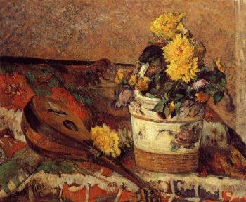 Paul Gauguin : Dahlias and Mandolin