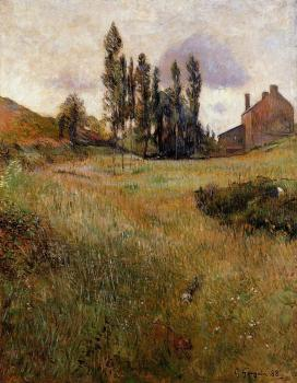 Paul Gauguin : Dogs Running through a Field