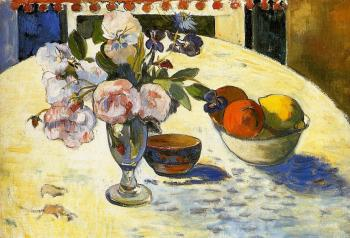 Paul Gauguin : Flowers in a Fruit Bowl
