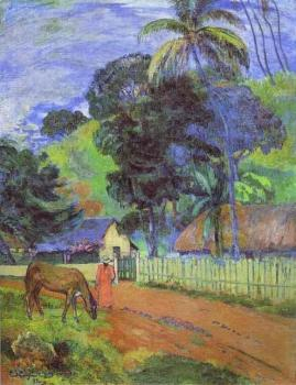 Paul Gauguin : Horse on Road, Tahitian Landscape