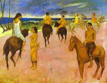 Paul Gauguin : Horsemen on the Beach