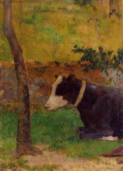 Paul Gauguin : Kneeling Cow