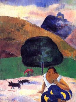 Paul Gauguin : Landscape with Black Pigs and a Crouching Tahitian