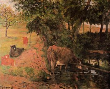Paul Gauguin : Landscape with Cows in an Orchard