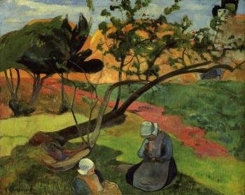 Paul Gauguin : Landscape with Two Breton Girls