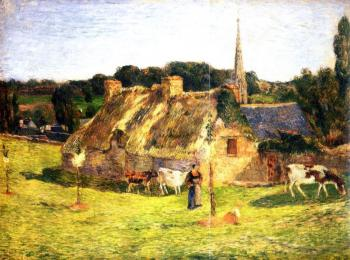 Paul Gauguin : Lollichon Field and Pont-Aven Church