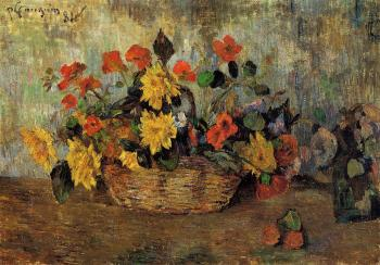 Paul Gauguin : Nasturtiums and Dahlias in a Basket