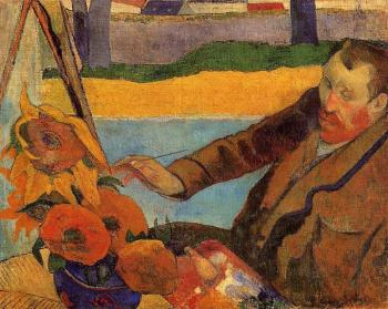 Paul Gauguin : Portrait of Vincent van Gogh Painting Sunflowers