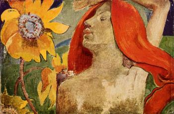 Paul Gauguin : Readheaded Woman and Sunflowers