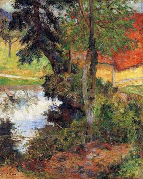 Paul Gauguin : Red Roof by the Water