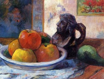 Paul Gauguin : Still Life with Apples, Pear and Ceramic Portrait Jug