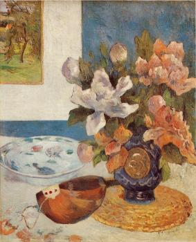Paul Gauguin : Still Life with Chinese Peonies and Mandolin