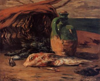 Paul Gauguin : Still Life with Jug and Red Mullet