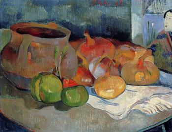 Paul Gauguin : Still Life with Onions, Beetroot and a Japanese Print