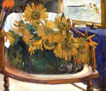 Paul Gauguin : Still Life with Sunflowers on an Armchair II