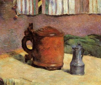 Paul Gauguin : Still Life, Clay Jug and Iron Mug