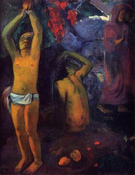 Paul Gauguin : Tahitian Man with His Arms Raised