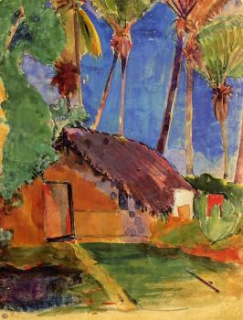 Paul Gauguin : Thatched Hut under Palm Trees