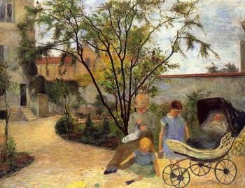 Paul Gauguin : The Family in the Garden, rue Carcel