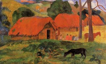 Paul Gauguin : Three Huts, Tahiti