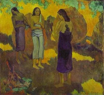 Paul Gauguin : Three Tahitian Women against a Yellow Background