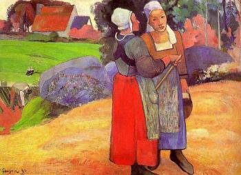 Paul Gauguin : Two Breton Peasants on the Road