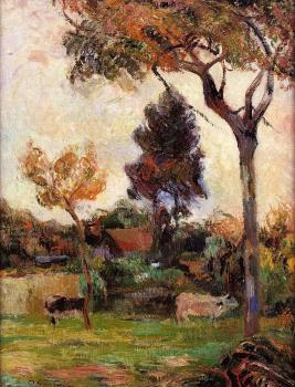Paul Gauguin : Two Cows in the Meadow