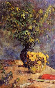 Paul Gauguin : Two Vases of Flowers and a Fan