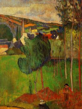 Paul Gauguin : View of Pont-Aven from Lezaven