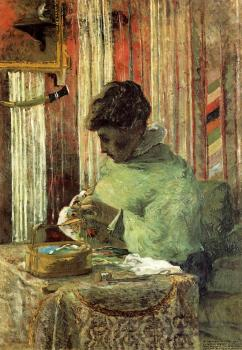 Paul Gauguin : Woman Embroidering
