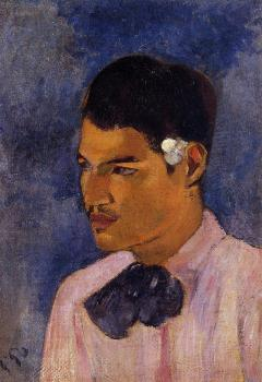 Paul Gauguin : Young Man with a Flower