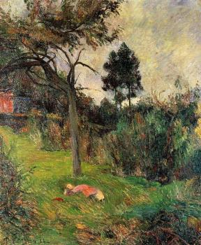 Paul Gauguin : Young Woman Lying in the Grass