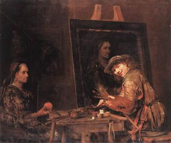 Self-Portrait at an Easel Painting an Old Woman