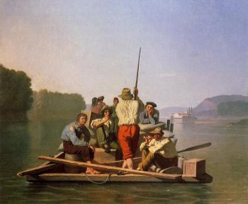 George Caleb Bingham : Lighter Relieving the Steamboat Aground