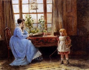George Goodwin Kilburne : A Mother And Child In An Interior