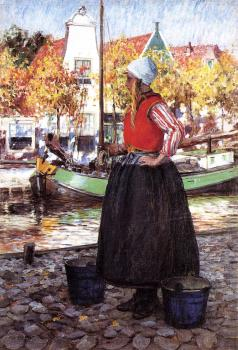 George Hitchcock : Woman Along Canal aka A Young Dutch Girl