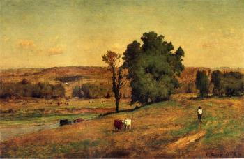 George Inness : Landscape with Figure