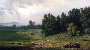 George Inness : Landscape with Sheep