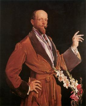 George Lambert : Self Portrait with Gladioli