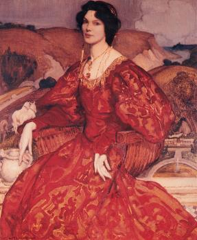 George Lambert : Sybil Walker in Red and Gold Dress