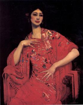 George Lambert : The Red Shawl